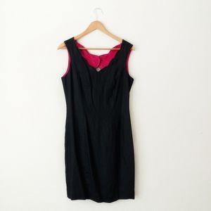 Nancy Johnson Satin Scalloped Trim Dress Size 8